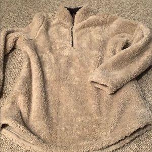 Tan Sherpa pullover 3/4 zip, pockets, small